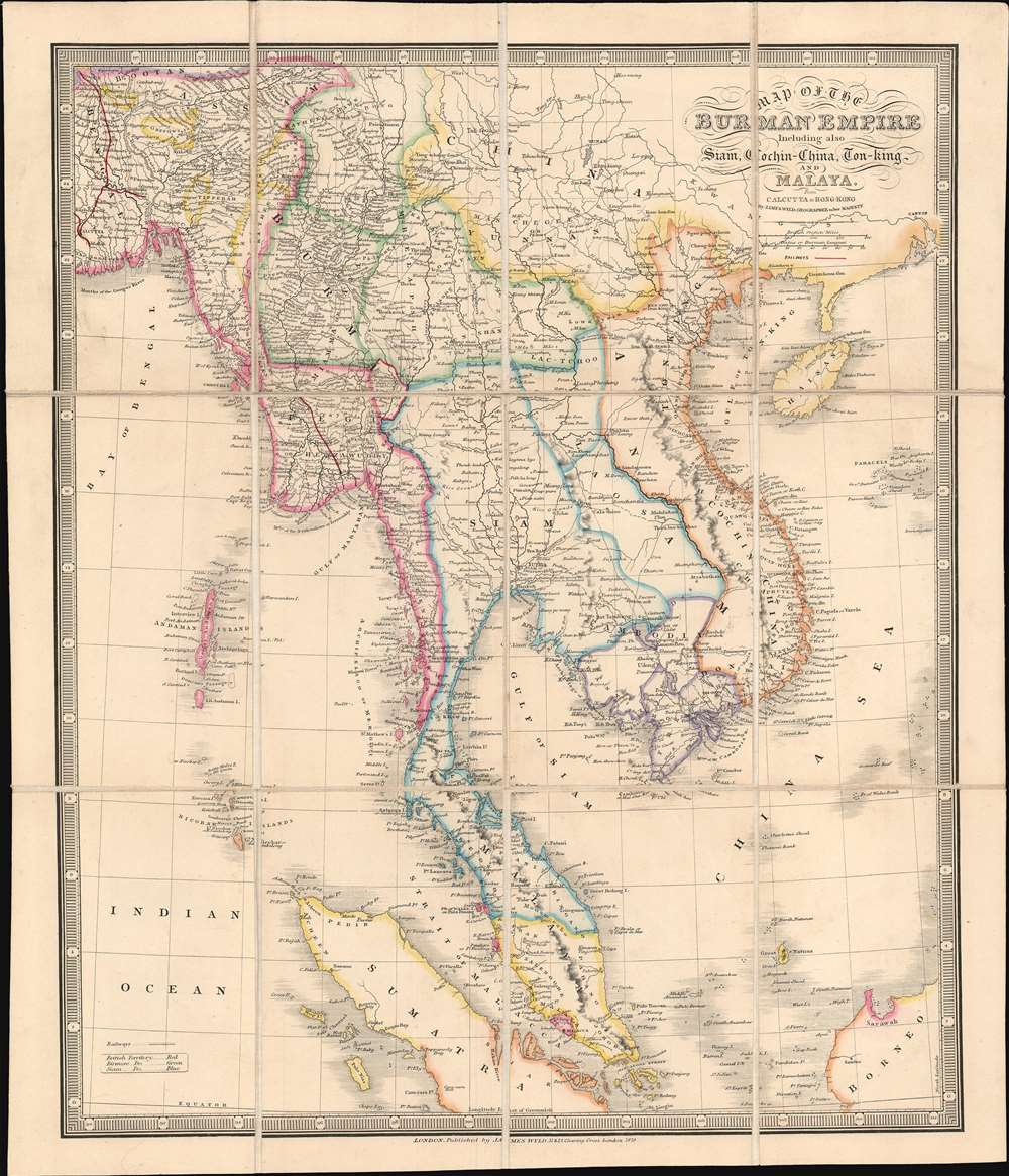 Map of the Burman Empire Including also Siam, Cochin-China, Ton-king and Malaya from Calcutta to Hong Kong. - Main View