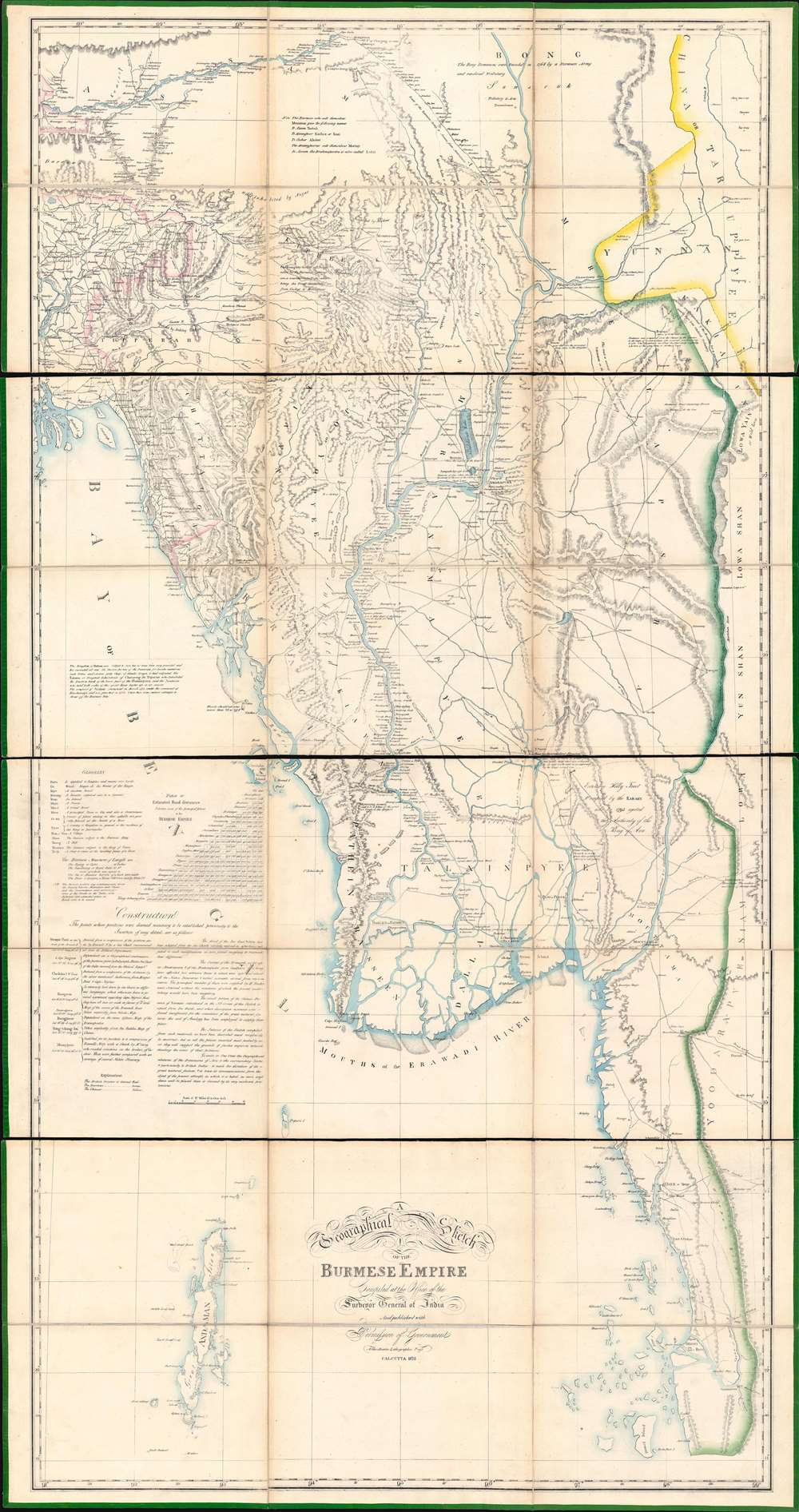 1825 Asiatic Lithographic / QMG Map of Burma (First Anglo-Burmesae War)