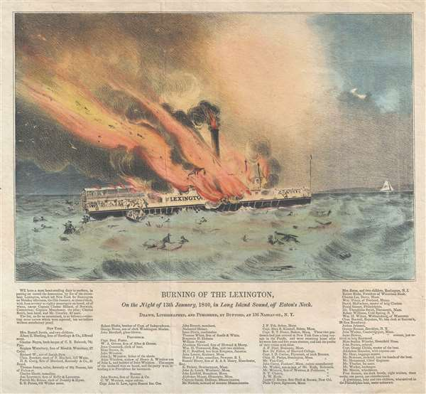 Burning of the Lexington, on the Night of 13th January, 1840, in Long Island Sound, off Eaton's Neck.