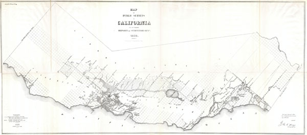 Map of the Public Surveys in California to accompany the Report of the Surveyor General 1854