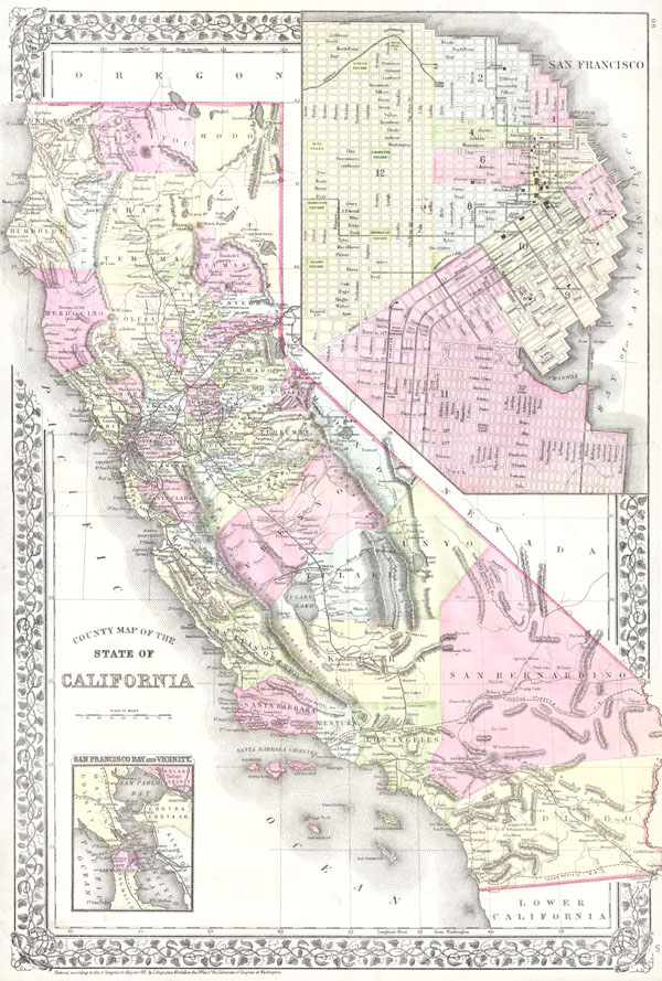 County Map of the State of California - Main View