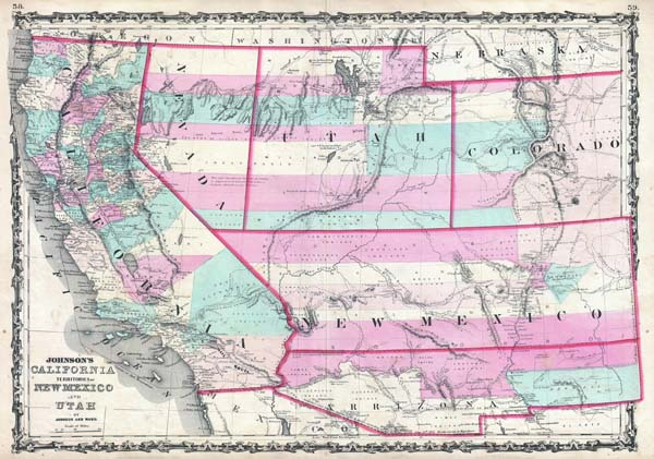 Johnson's California, Territories of New Mexico and Utah. - Main View