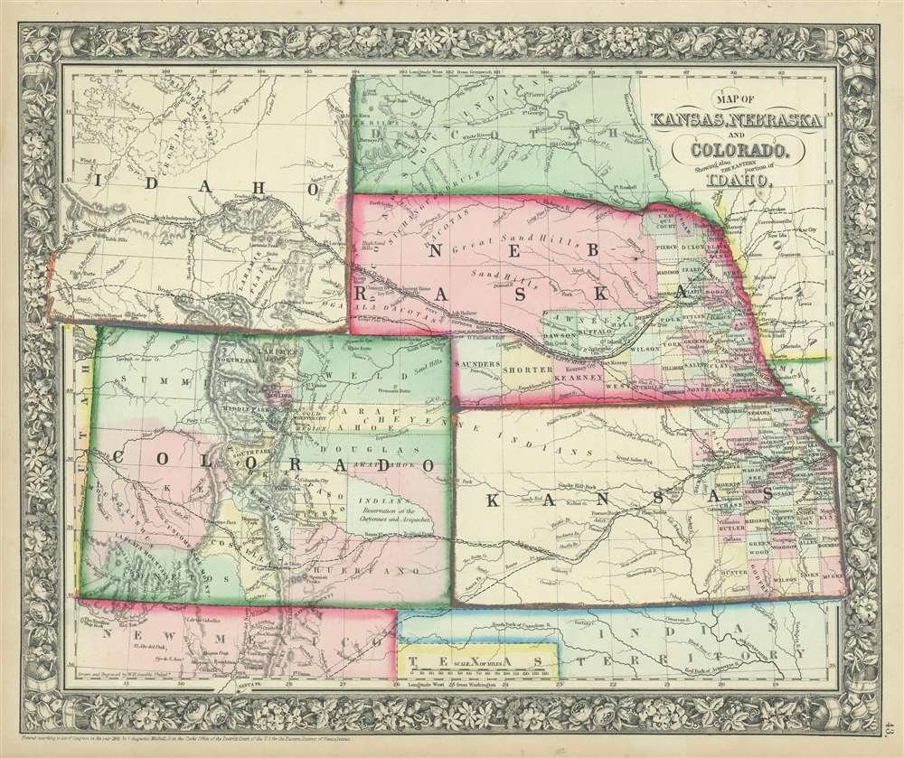 Map of Kansas, Nebraska and Colorado, Showing also the Eastern Portion of Idaho. - Main View