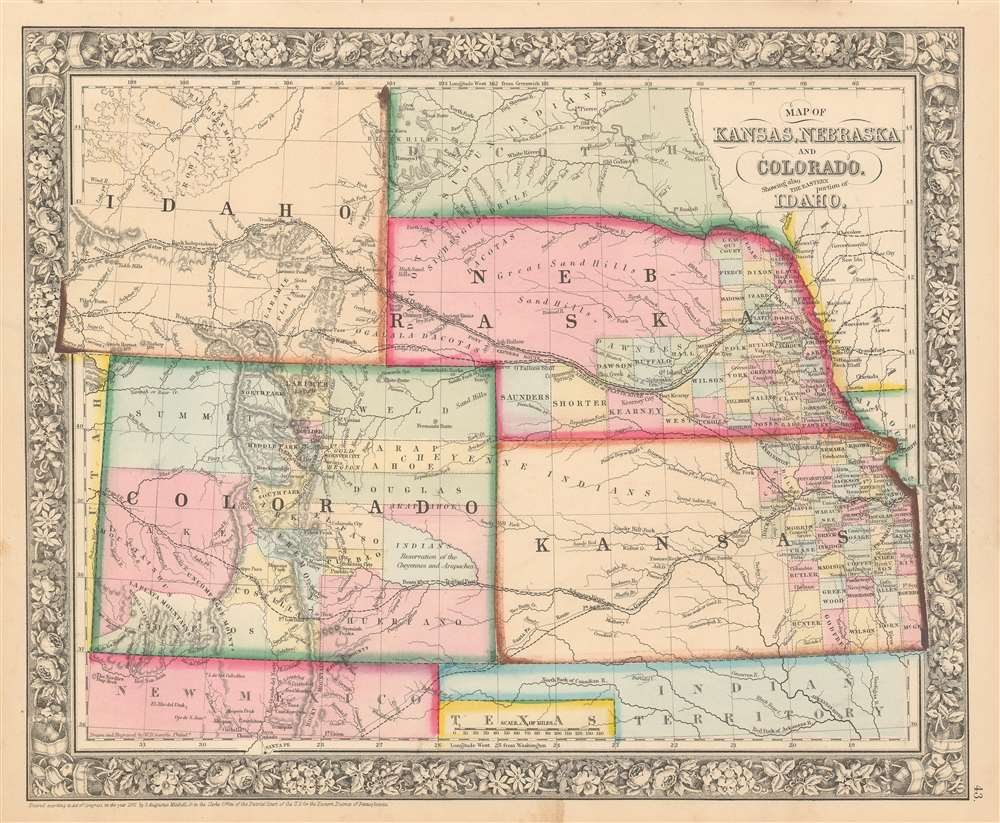 1863 Mitchell Map of Kansas, Nebraska, Colorado, and Idaho