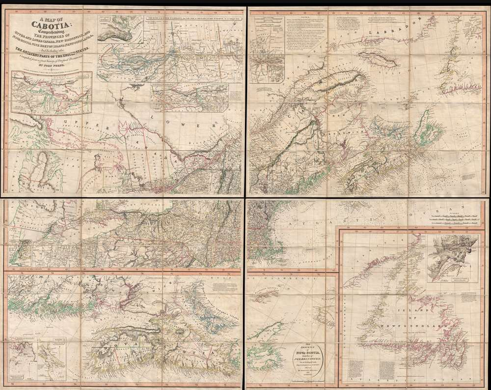 A Map of Cabotia; Comprehending The Provinces of Upper and Lower Canada, New-Brunswick And Nova-Scotia, with Breton Island, Newfoundland, &c. And Including also, The  Adjacent Parts of the United States. Compiled from a great Variety of Original Documents. By John Purdy. - Main View