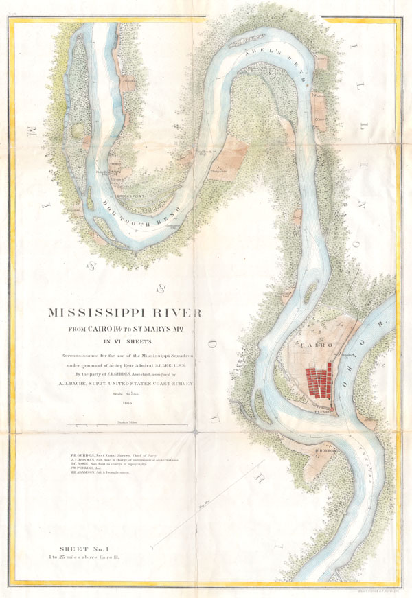 Mississippi River from Cairo Illinois to St. Mary's Missouri in VI Sheets.  Reconnaissance for the use of the Mississippi Squadron under the command of Acting Rear Admiral S.P.L.E.E,  U.S.N. By the part of E. H. Gerdes, Assistant; assigned by A.D. Bache, Supdt. United States Coast Survey.