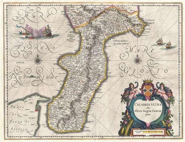 1646 Blaeu Map of Calabria, Italy