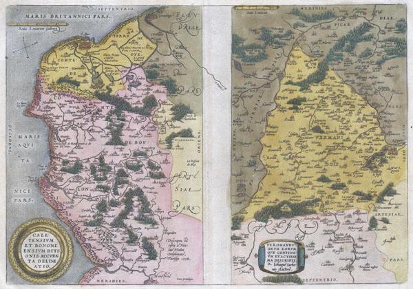 Caletensium et Bononiensium Ditionis Accurata Delinatio. / Veromanduorum Eorumque Confinium Exactissima Discriptio.