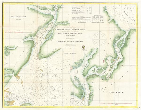 Preliminary Chart of Calibogue Sound and Skull Creek forming inside passage from Tybee Roads to Port Royal Sound South Carolina. - Main View