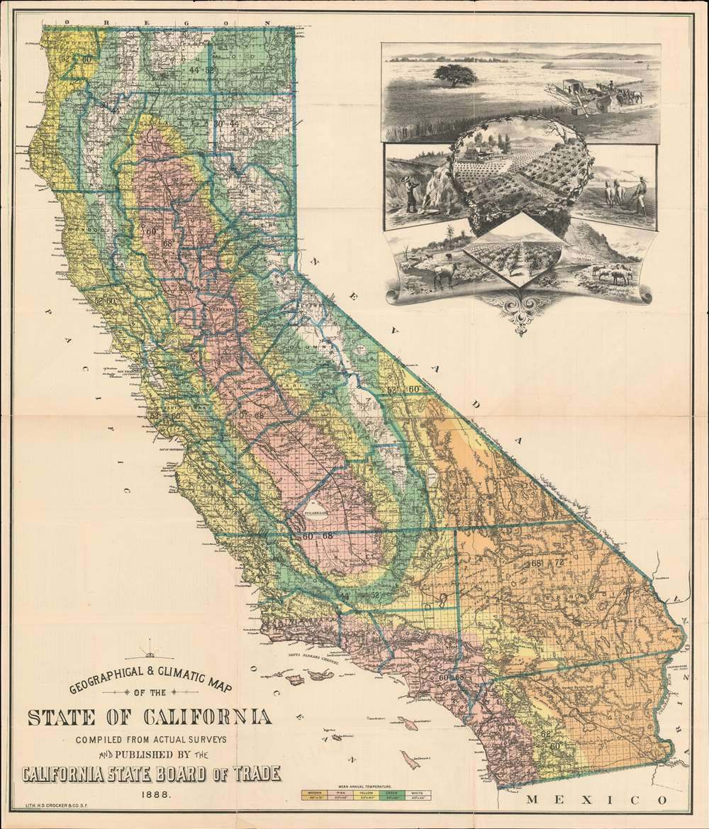 Geographical and Climatic Map of the State of California. - Main View