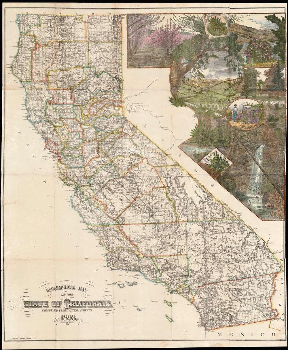 1893 H. S. Crocker Map of California w/ Wine Making Vignette
