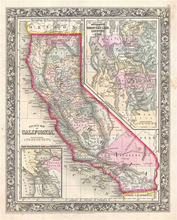 1861 Mitchell Map of California