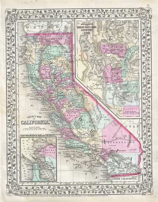 County Of Antique Map Geographicus Rare Maps California