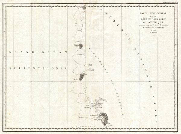 Carte Particuliere de la Cote du Nord-Ouest de l Amerique reconnue par les Fregates Francaises la Boussole et l Astrolabe en 1786. 3e. Feuille.