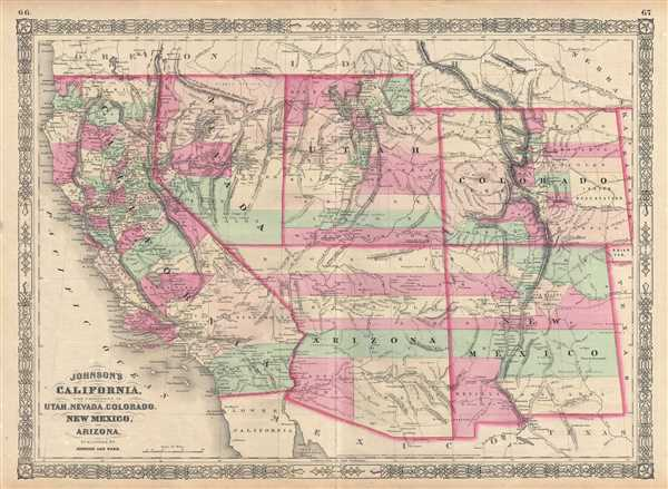 Map Of California Arizona Border.Johnson S California With Territories Of Utah Nevada Colorado