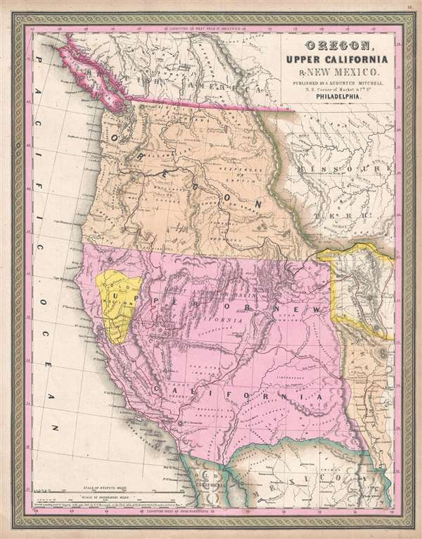 Map Of California To Oregon.Oregon Upper California And New Mexico Geographicus Rare Antique