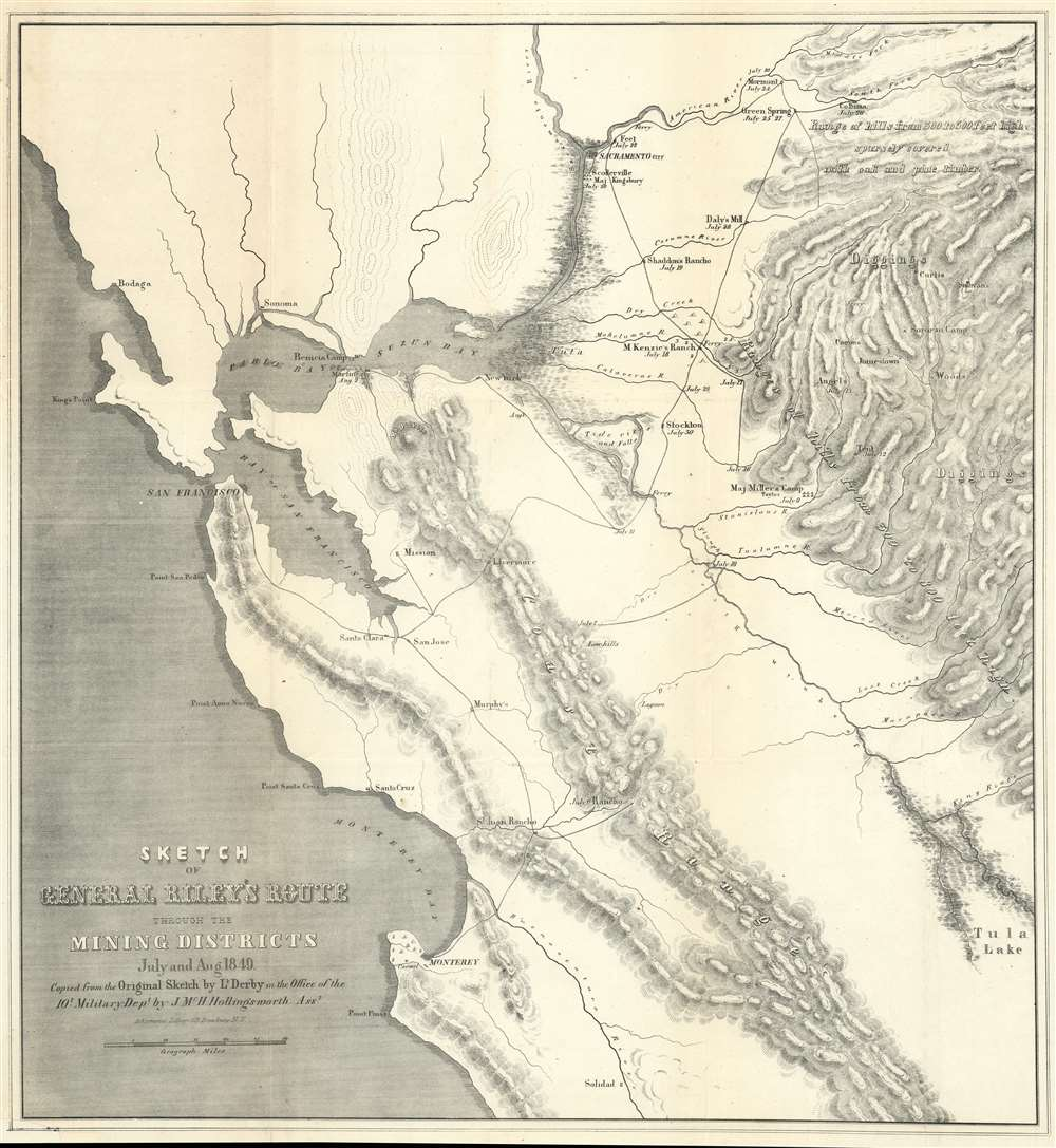 Sketch of General Riley's Route Through the Mining Districts July and Aug 1849. - Main View