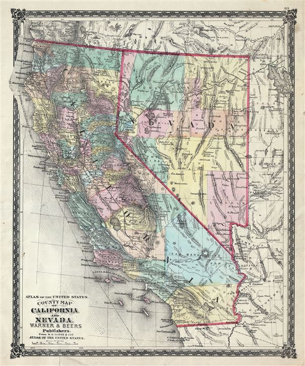 Atlas of the United States.  County Map of California and Nevada.
