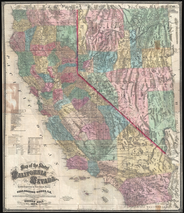 Map of the States of  California and Nevada.  Carefully Compiled from the Latest Authentic Sources.  By Chas. Drayton Gibbes, C.E.