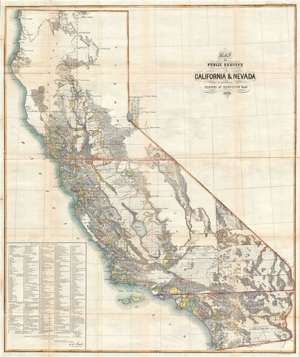Map of Public Surveys in California and Nevada to accompany Report of Sureyor Genl. 1863. - Main View
