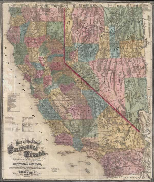 Map Of The States Of California And Nevada Carefully Compiled From - Authentic world map