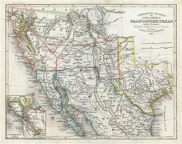 Vereinigte Staaten von Nord-America: Californien, Texas und die Territorien New Mexico u. Utah.