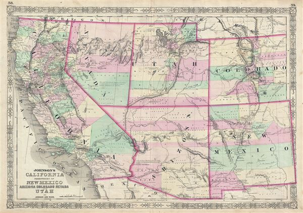 Map Of Arizona Utah Border.Johnson S California Territories Of New Mexico Arizona Colorado