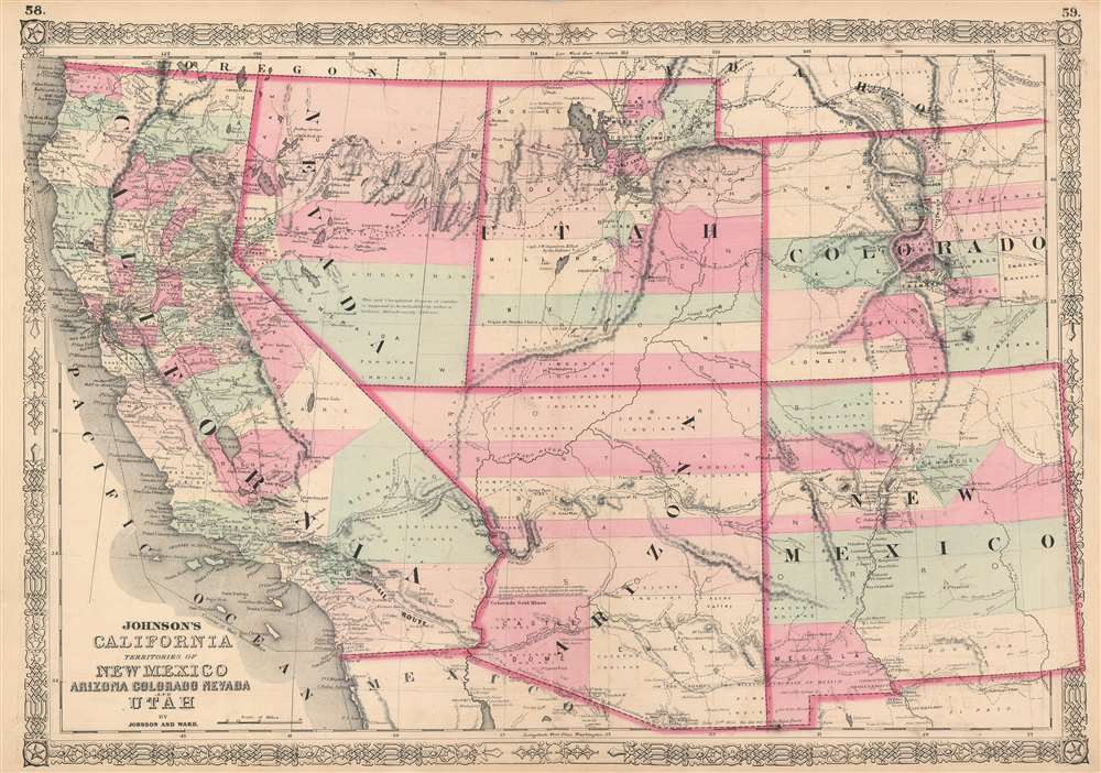 Map Of Arizona Utah And Colorado.Johnson S California Territories Of New Mexico Arizona Colorado
