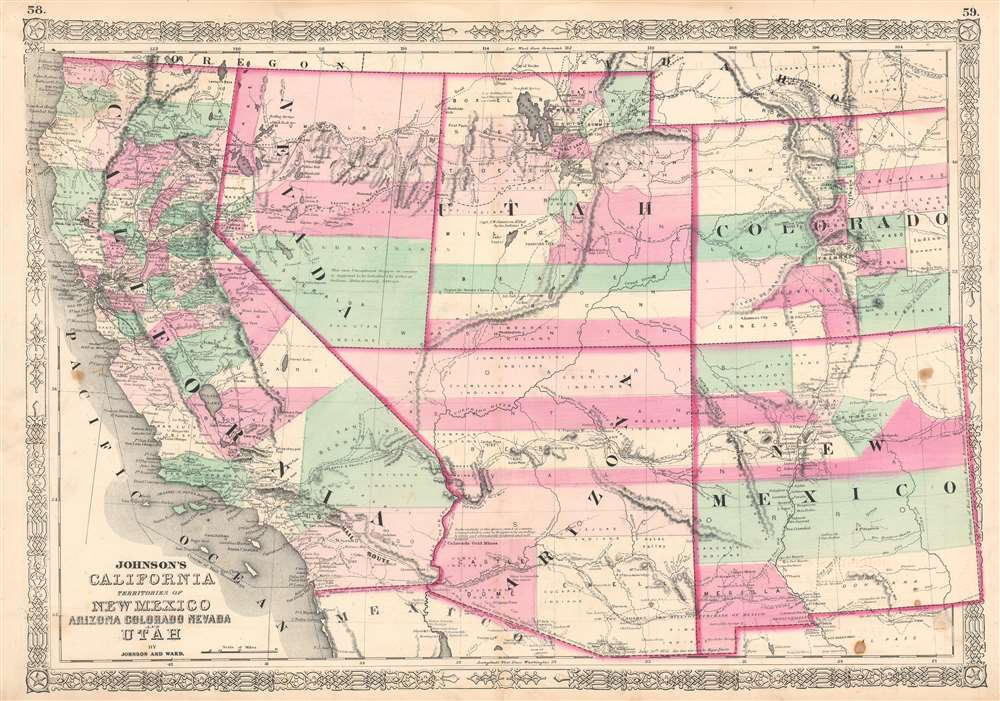 1863 Johnson Map of California, Nevada, New Mexico, Arizona, Colorado and Utah