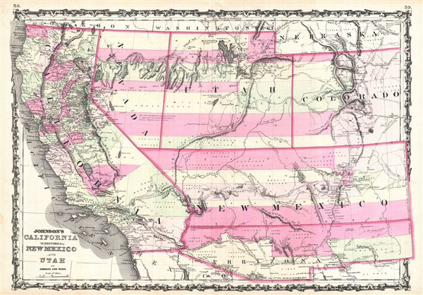 Johnson's California, Territories of New Mexico and Utah.