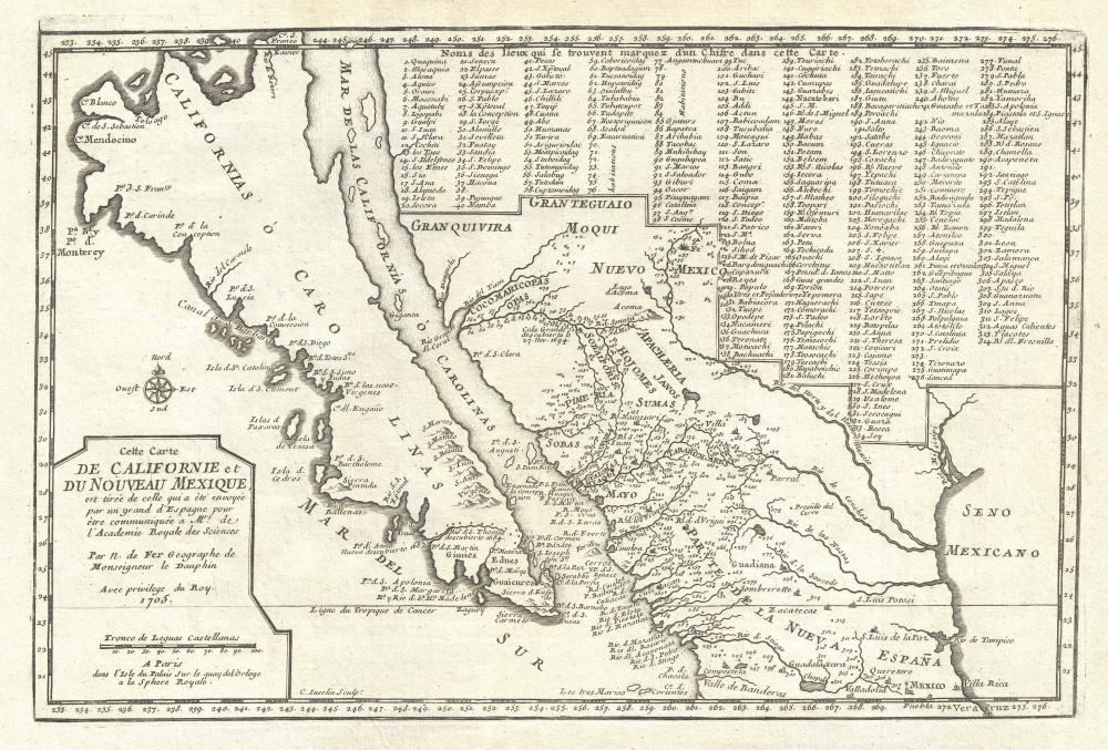 Cette Carte de Californie et du Nouveau Mexique, est tiree de celle qui a ete envoyee par un grand d'Espagne pour etre communiquee a Mrs. De L'Academie Royale des Sciences.