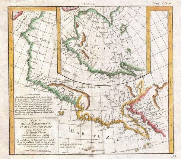 Carte De La Californie et Des Pays Nord-Ouest separes de L'Asie par le Detroit d'Anian, extraite de deux cartes publiees au commencement de 17e Siecle.