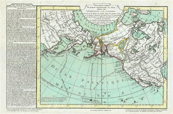 Nouvelle Carte de la Partie Septentrionale du Globe, comprise entre le Kamtchatka et la Californie.