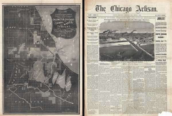 Map showing Location of Lands of the Calumet & Chicago Canal & Dock Company.