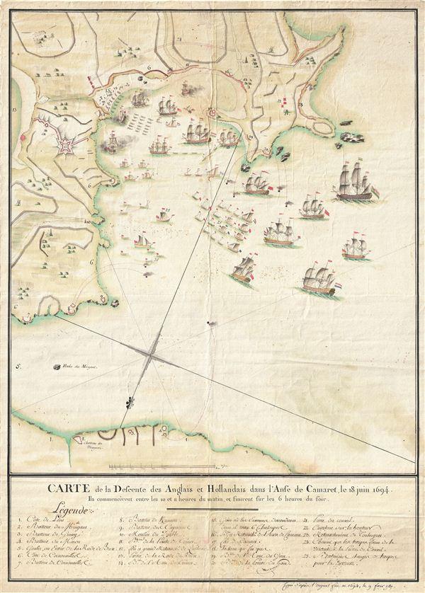 Carte de la Defcente des Anglais et Hollandais dans l'Anse de Camaret, le 18 Juin 1694.