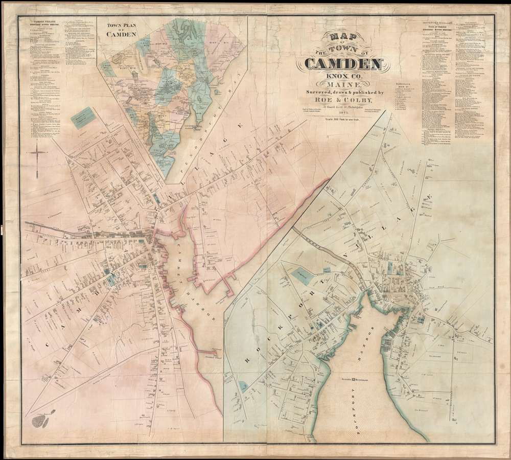 Map of the Town of Camden Knox Co. Maine.