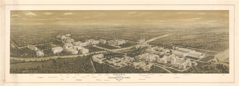 1930 University of Iowa Bird's Eye View Plan of the University of Iowa