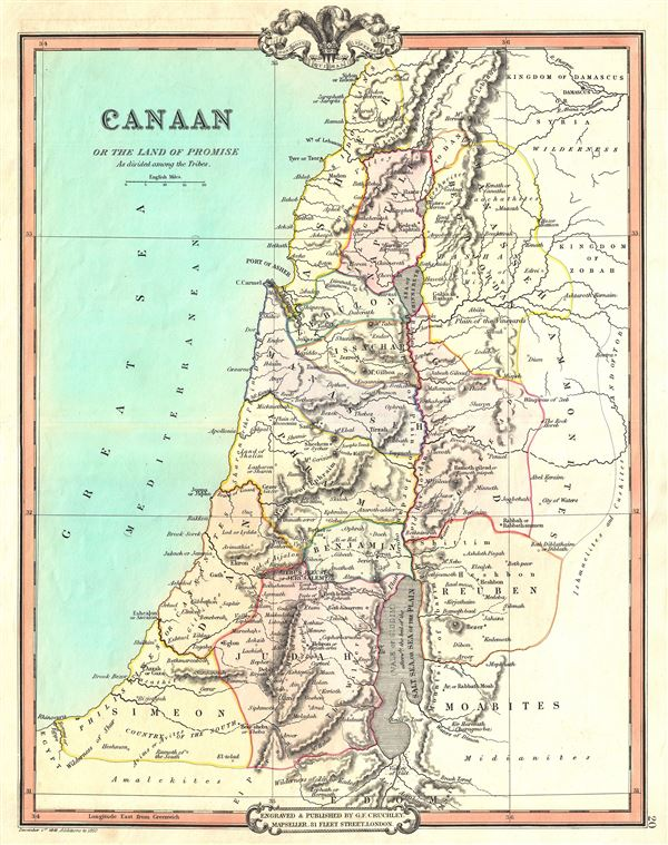 Canaan or the Land of Promise As divided among the Tribes.