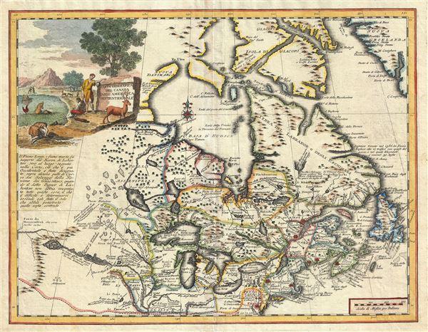Carta Geografica Del Canada Nell' America Settentrionale.