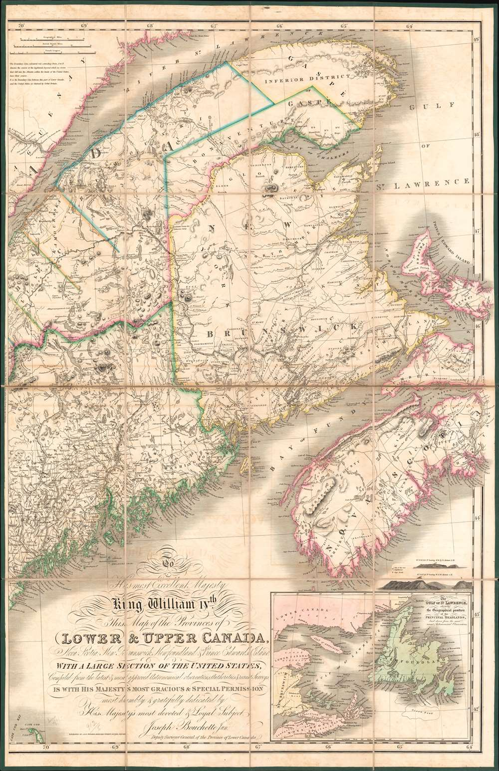 To His Most Excellent Majesty King William IVth This Map of the Provinces of Lower and Upper Canada, Nova Scotia, New Brunswick, Newfoundland and Prince Edwards Island, with a Large Section of the United States... - Alternate View 2