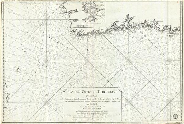 Plan des Cotes de Terre Neuve IIIe. Feuille Contenant la Partie Meridionale depuis les Iles de Bergeo jusqu au Cap de Raye, avec l'Entrée du Golfe de St. Laurent comprise entre ce Cap et le Cap de Nord de l'Ile Royale.