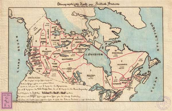 1871 Manuscript Map Illustrating the American Indian Tribes of Canada