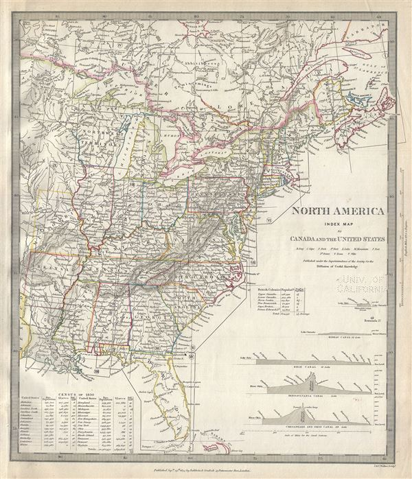 North America Index Map of Canada and the United States. - Main View