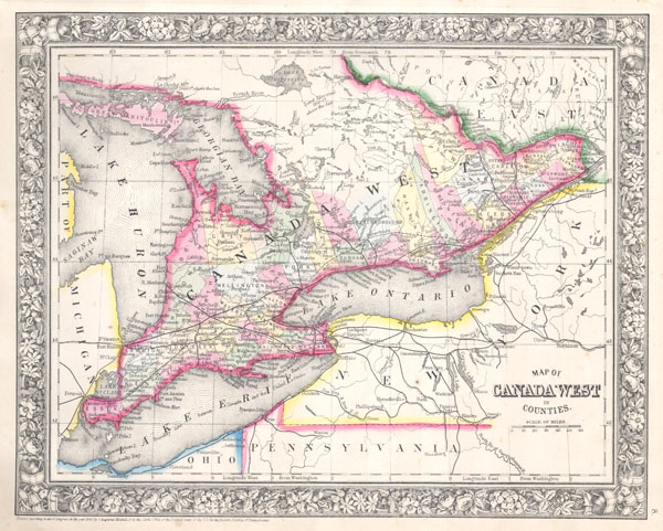 Map Of Canada West In Counties Geographicus Rare Antique Maps