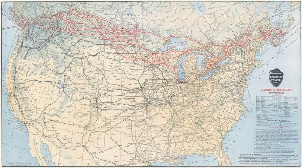 1912 Poole Brothers Railroad Map of the United States and Canada