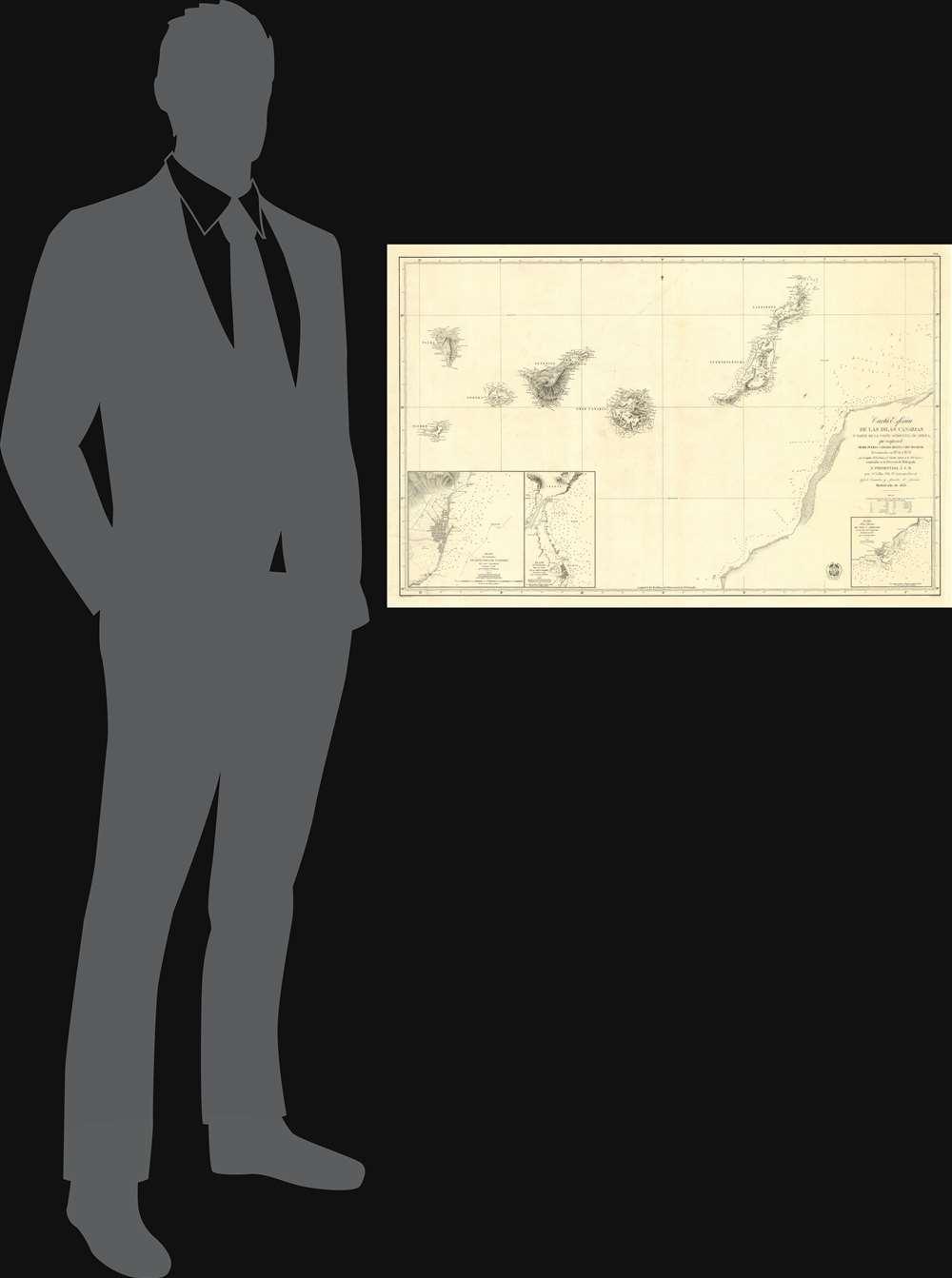 Carta Esférica de las Islas Canarias y Parte de la Costa Ocidental de Africa, que Comprende desde Puerto Cansado Hasta Cabo Bojador, levantada en 1834 á 1838. - Alternate View 1