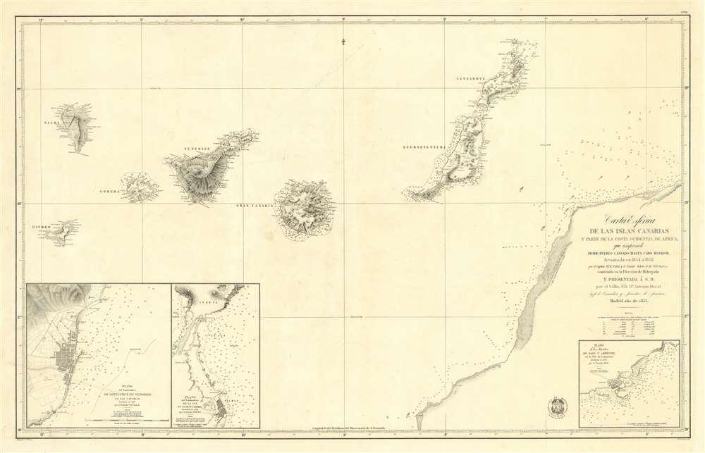 Carta Esférica de las Islas Canarias y Parte de la Costa Ocidental de Africa, que Comprende desde Puerto Cansado Hasta Cabo Bojador, levantada en 1834 á 1838 …