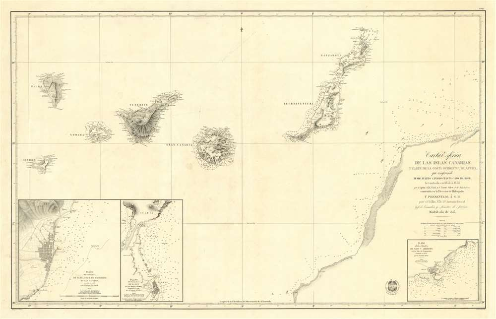 1853 Direccion de Hidrografia Nautical Chart or Map of the Canary Islands