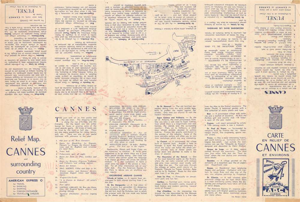 Relief Map of Cannes and surrounding country. / Carte en Relief de Cannes et Environs. - Alternate View 1