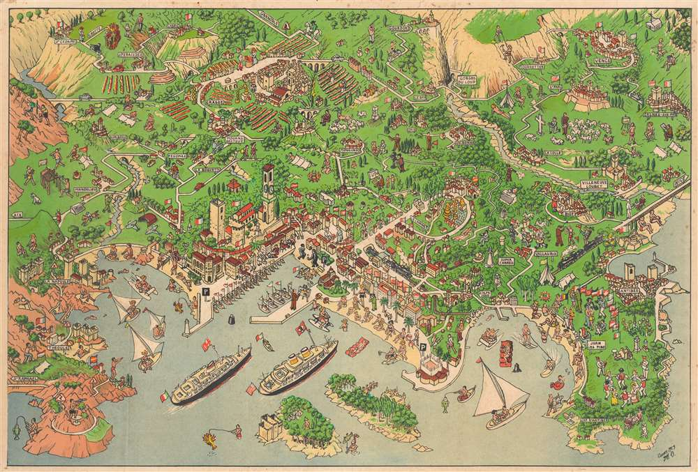 Relief Map of Cannes and surrounding country. / Carte en Relief de Cannes et Environs. - Main View